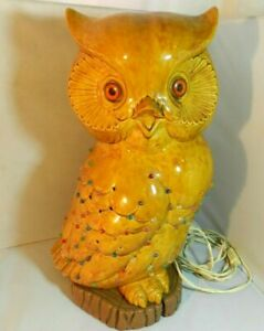 Vintage-ATLANTIC-MOLD-Ceramic-Owl-with-Lighted-Base-Lg-16-5-034-Rare-Mold