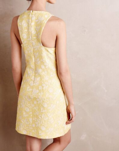 Anthropologie Ravinia Sheath Dress By 4.Collective Yellow White Size 8-12-14 NEW