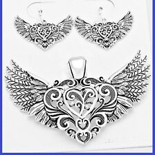 """Filigree Heart Love Wings Angel Silver Pendant Earrings With 23"""" Chain Necklace"""