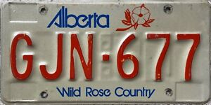 Alberta Wild Rose Country Canada  License Canadian Licence Plate GJN 677
