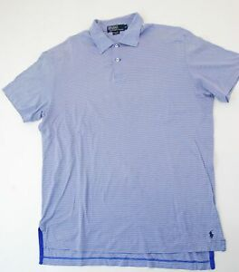 Ralph-Lauren-Poloshirt-Polohemd-Herren-Gr-M-blau-gestreift-Knopf-S830