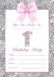 baby girl 1st birthday party invitations kids invites pink silver 10