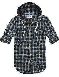 Ship From Usa Mens Fashion Muscle Fit Hooded Check Flannel Shirt