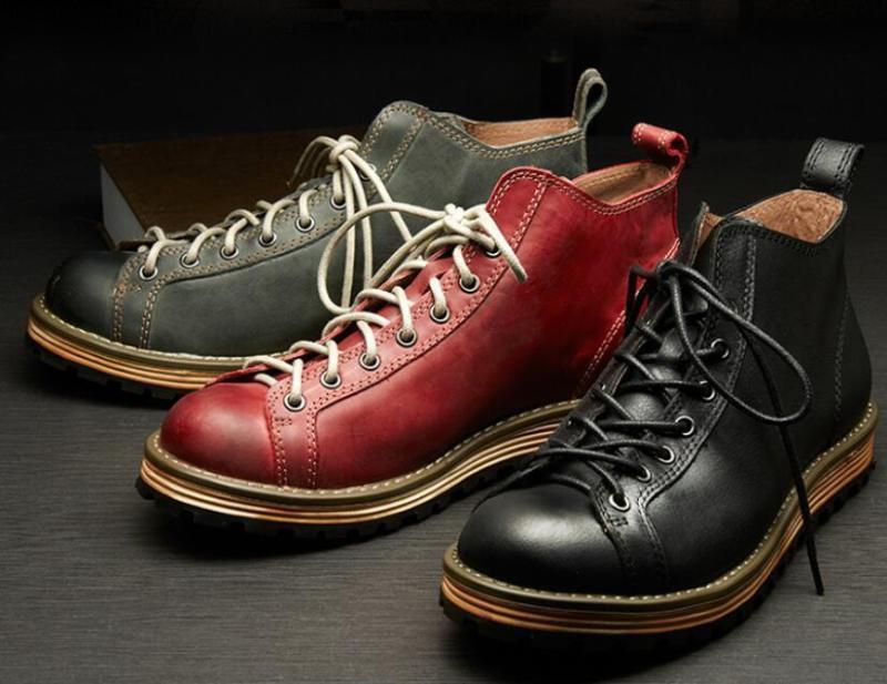 Cuero para Hombre Punta rojoonda Con Cordones De Trabajo Informal Vintage Tobillo botas Zapatos