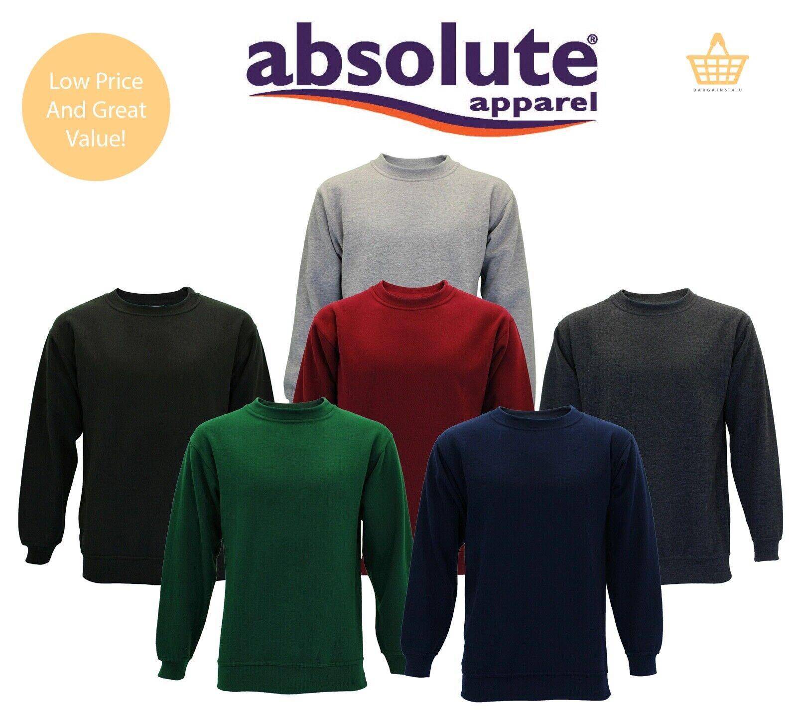 Mens Plain Jumper Sweatshirt Jersey Sweater Pullover Work Casual Leisure Top