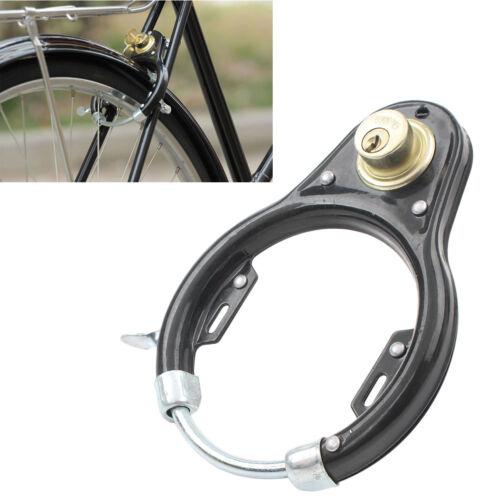 Vintage Bicycle U-Lock Wheel Lock Set Iron Anti-theft Security Protector