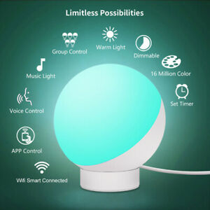 Round-Smart-LED-Desk-Table-Lamp-Night-Light-Voice-WiFi-APP-Control-Dimmable-Desk