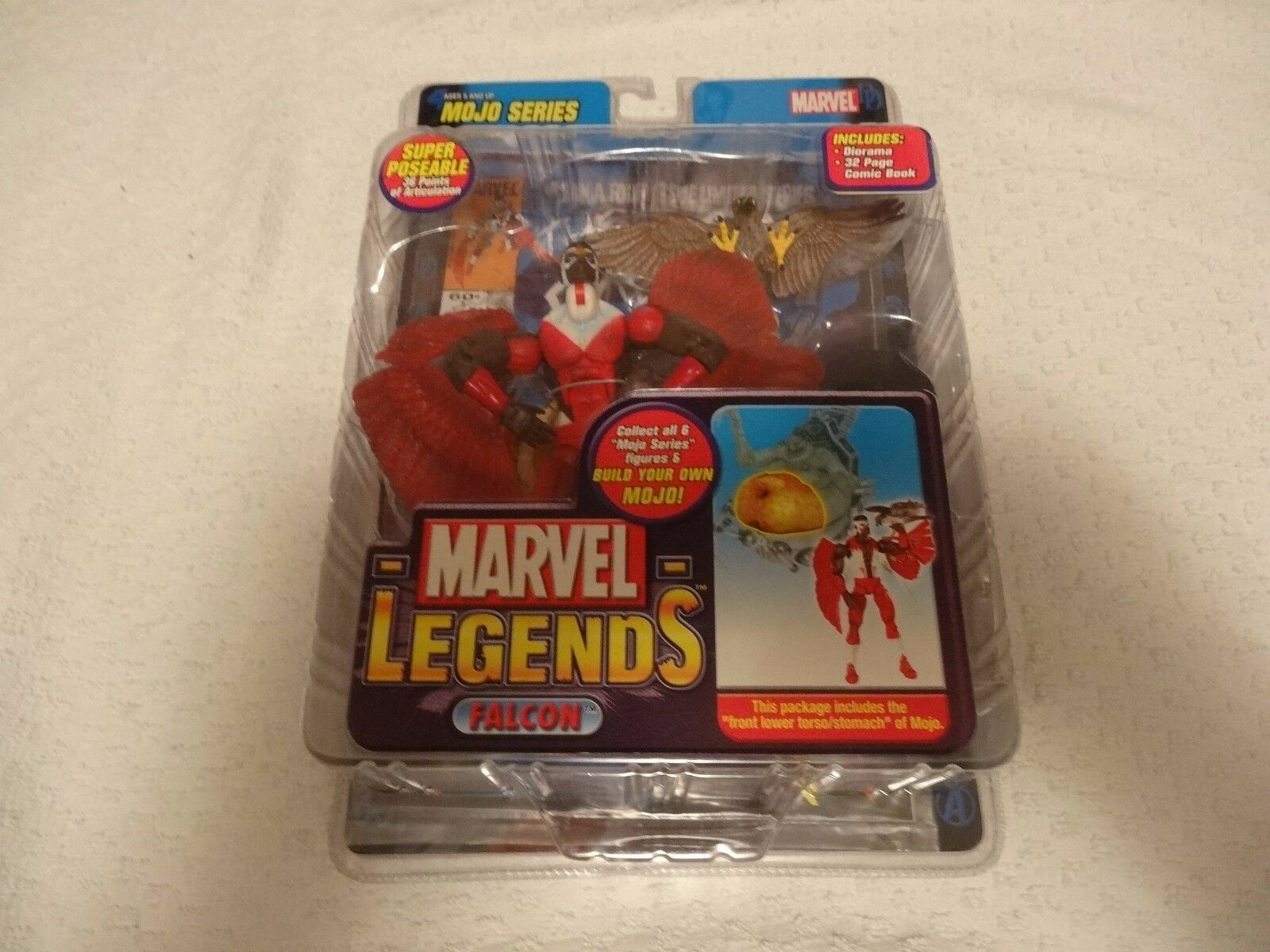 Marvel Legends Mojo Series Falcon Rare Chase Variant rosso Toy Biz New Free Ship