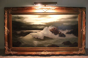 Details about Stunning BERGAMASCHI Seascape oil on canvas painting w/ wood  frame 36