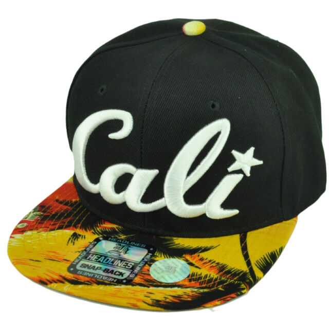 5e2269f80f5 Cali California 3D Hawaiian Floral Flower Brim Hat Cap Snapback BLK Palms  Orange