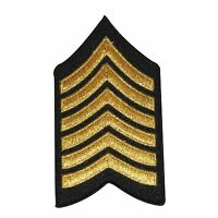 Military Rank Stripes Chevrons Gold And Black Iron On Applique Patch Fd