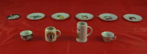Lot of 10 Miniature Plates Cups Mugs Saucers Dragon Fruit Design Steins W3P7