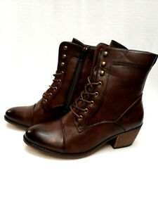 Boots Womens Granny style lace up zipper faux vegan leather size 9