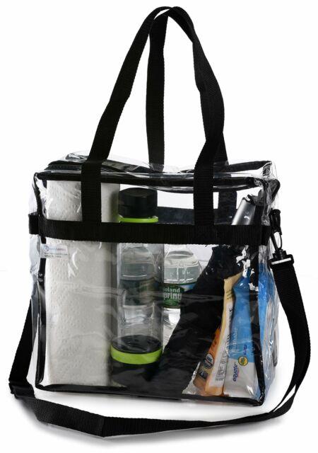 Clear Plastic Tote Bag Women Transparent Handbag Zip Purse NFL Stadium Securi...
