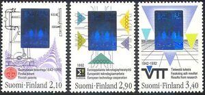 Finland-1992-Science-Technology-Hologram-Holograph-Trees-Engine-3v-set-n41515