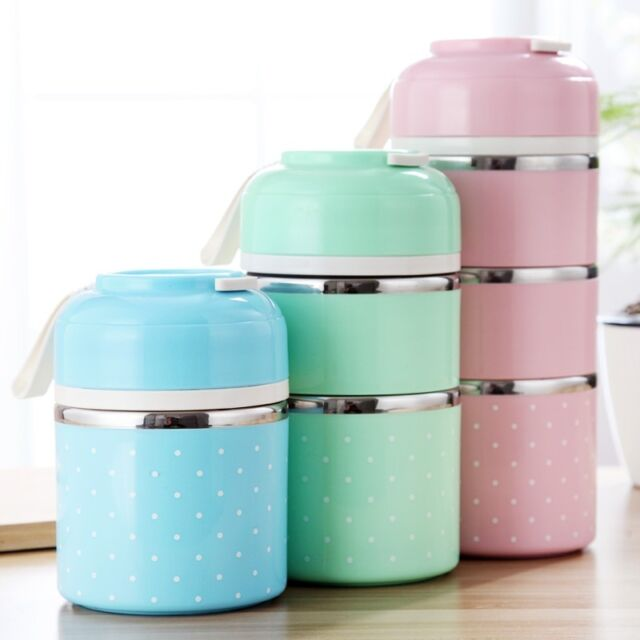Thermal Lunch Box 1-2-3 Layer Bento Food Container Storage Stainless Steel Bags