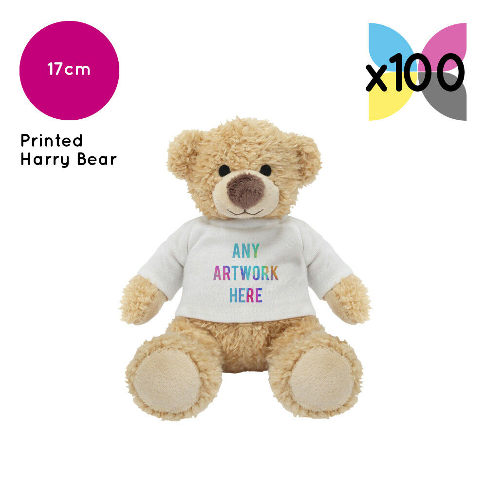 100 Personalised Harry Teddy Bears Promotional Logo Text Photo Printing Bulk