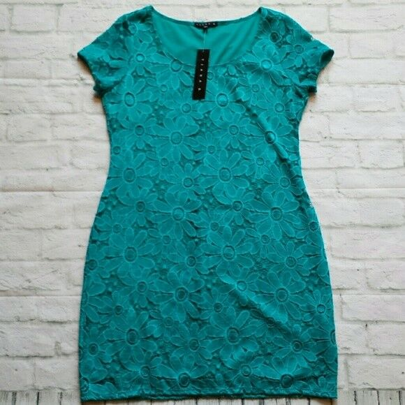 Size Large New with Tags Tiana B Turquoise Lace Cap Sleeve Dress  98
