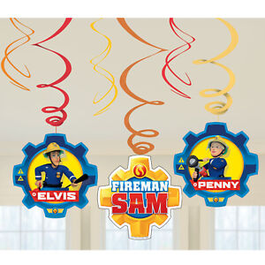 FIREMAN-SAM-HANGING-DECORATIONS-6-x-FIREMAN-SAM-SWIRL-DECORATIONS-FOR-PARTY