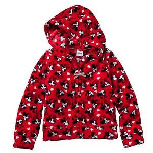 35b0f98c9cb0 Disney Minnie Mouse Girl Fleece Hoodie Rocker Red NWT