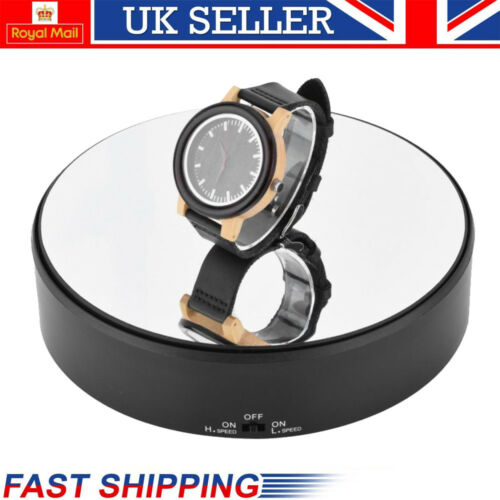 18cm Top Mirror Glass 360° Rotating Rotary Display Stand Turntable Battery Power