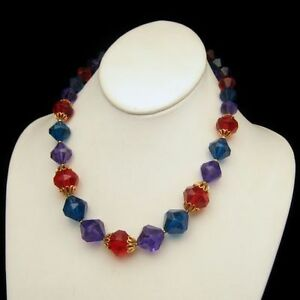 TRIFARI-Vintage-Necklace-Chunky-Jewel-Tone-Red-Blue-Purple-Lucite-Beads