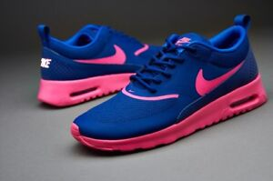 timeless design bb311 b2f66 Image is loading Nike-Air-Max-Thea-Women-Trainers-Blue-Pink-