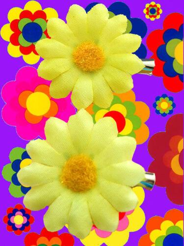 A25 - 70er anni Hippie Flowerpower prilblumen FERMAGLI Clip Capelli Gioielli Woo