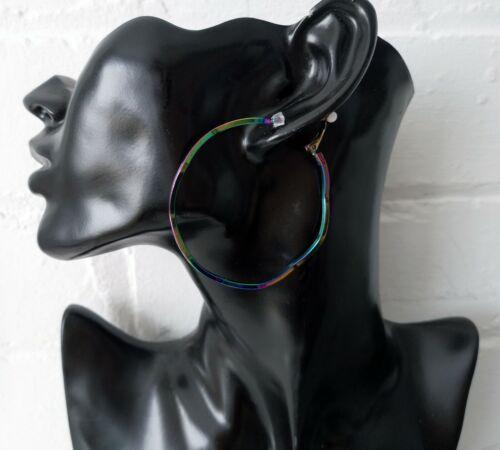5.5cm derrame de petróleo//Diseño De Varios Colores Ondulado Aro Pendientes de Clip en