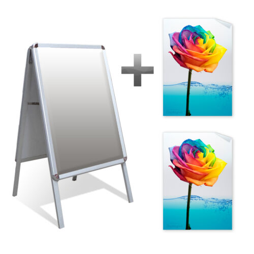 A2 a-board pavimento signo Outdoor Display Stand snapframe & 2x Impermeable Carteles