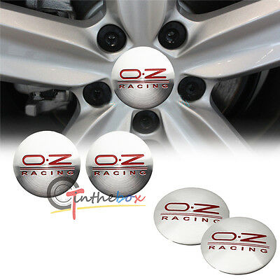 4PCS Silver 56.5mm OZ O.Z Racing Aluminum Wheel Center Hub Cap Stickers Emblems