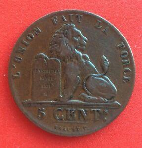 Belgique-Leopold-Ier-Tres-Jolie-Monnaie-de-5-Centimes-1850