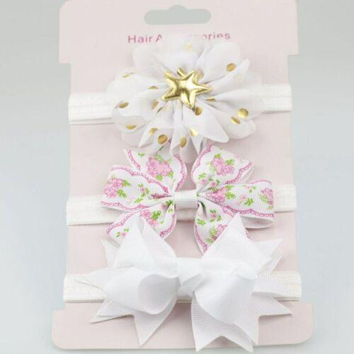 3Pcs//set Glitter Bows Flower Baby Headband Newborn Girl Hair Accessories Gift