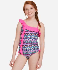 d7cda94a3d8 Justice Girl's Size 6 MERMAID Geometric Print Ruffle One Piece Swim ...