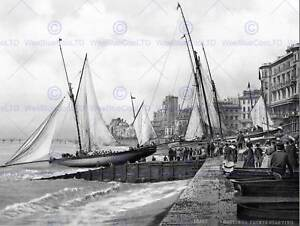 HASTINGS-YACHTS-STARTING-ENGLAND-VINTAGE-OLD-BW-PHOTO-PRINT-POSTER-ART-908BW