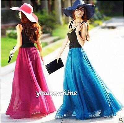 Women's Beach Bohemia 2 Layer Retro Maxi Dress Elastic Waist Pleated Long Skirt