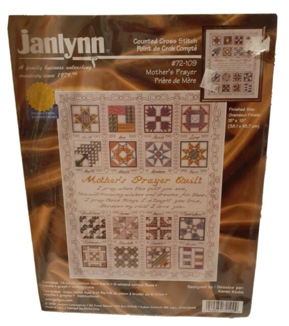 Janlynn Cross Stitch Kit Mothers Prayer Quilt NEW Sealed 15 X 18 inches.