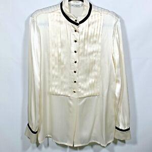 ST-JOHN-Women-039-s-Ivory-Black-Silk-Long-Sleeved-Button-Up-Blouse-Pin-Tuck-Size-6
