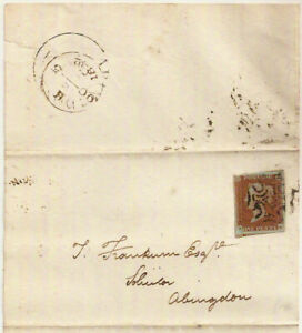 1842 QV 1d red 4-margin imperf London Maltese Cross entire->Abingdon Oxfordshire