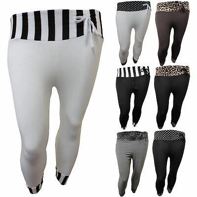 Ladies Animal Polka Dot Stripe 3/4 Trim Cropped Bow Tie Trousers Leggings 12-26 SorgfäLtige FäRbeprozesse