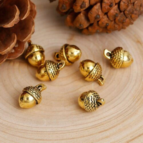 2//10//20Pcs 3D Acorn From Oak Tree Charm// Pendant Gold Silver Plated Jewelry Gift