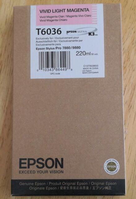 03-2021 GENUINE EPSON T6036 VIVID LIGHT MAGENTA 220ml INK STYLUS PRO 7880 9880