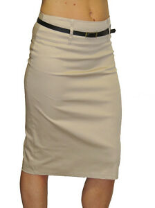 NEW-2347-Trend-Stretch-Pencil-Skirt-With-Sheen-FREE-Belt-Beige-Size-16-18