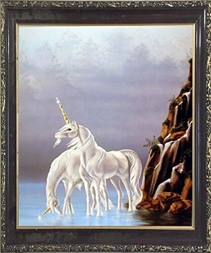 Early Silver Dawn Sci Fi Unicorn Fantasy Horse Wall Decor Art Framed Picture