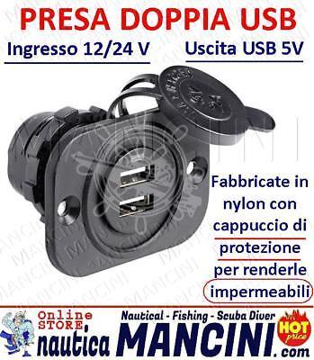 PRESA IMPERMEABILE CARICABATTERIE CON DOPPIA USB PER SPINE NAUTICA AUTO CAMPER