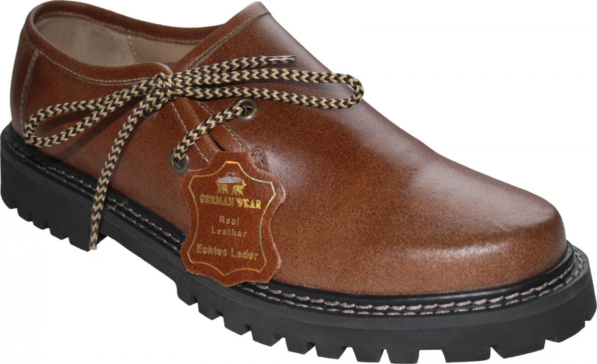 German Wear, Haferlshoes Trachten shoes Pullup-Smooth Leather shoes Chestnut Brown