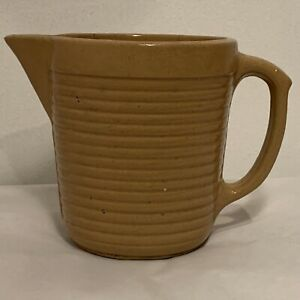 VINTAGE MONMOUTH ringware ribbed stoneware pottery pitcher batter jug brown