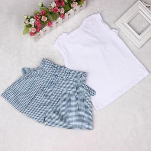 Grid Shorts Pants Set Clothes Kids Girls Bow Girl Pattern Shirt Tops Blouse