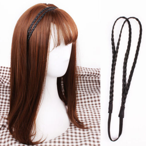 Synthetic Wig Double Braided Hair Band Elastic Twist Princess Headband M