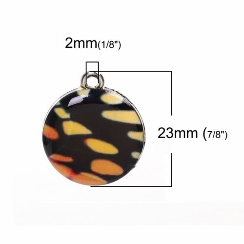 Monarch Butterfly 23mm Silver Plated Resin Pendant Charms C3987-2 5 Or 10PCs